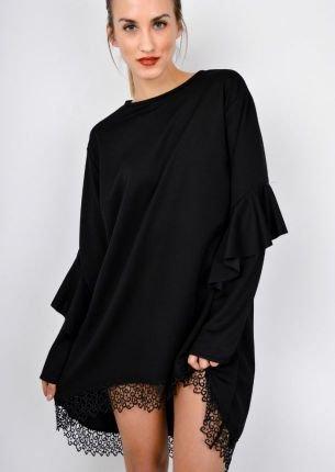 Asymetryczna sukienka oversize z gipiurą