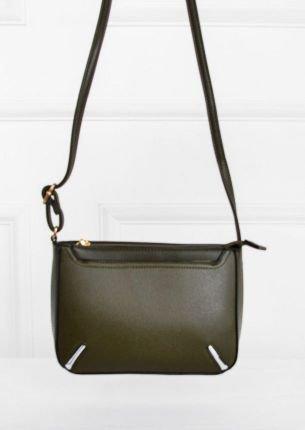 Mała torebka z paskiem i metalowymi wstawkami-Khaki-UNIWERSALNY