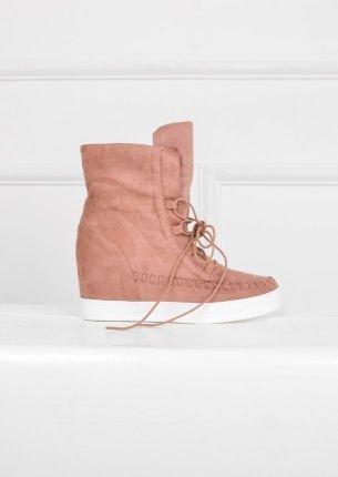 Sneakersy na koturnie z wiązaniem